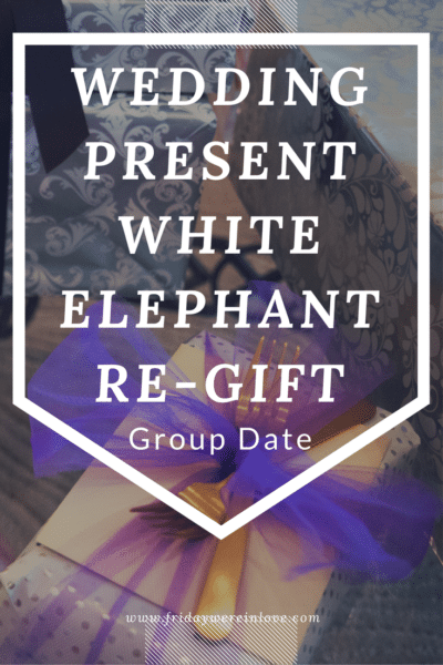 Such a fun group date idea! Dig up that awkward present you received as a wedding gift or head to a thrift store to re-purchase something similar and have a white elephant party with a bunch of other couples.