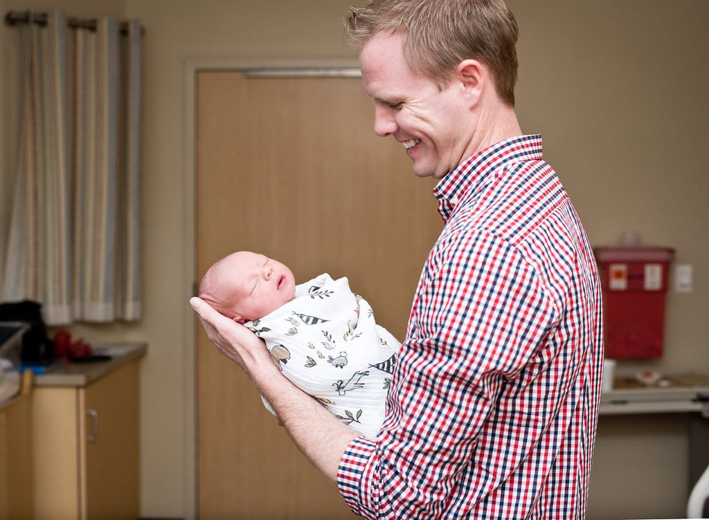 Birth Photography- Hospital shot with proud new daddy