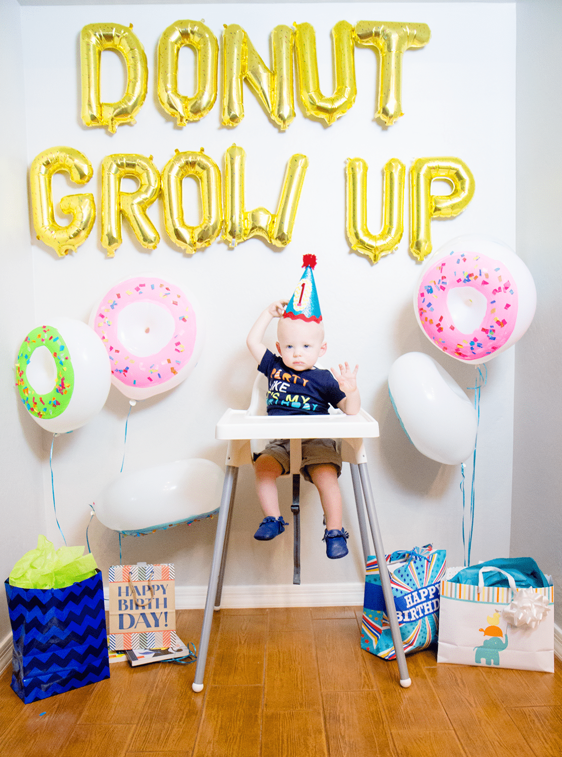 Donut Grow Up 1st Birthday Party Friday Were in Love