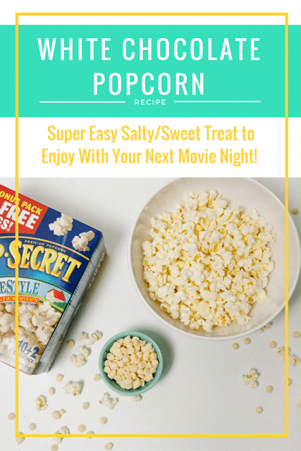 This easy white chocolate popcorn recipe comes together in minutes and is perfect for your next cozy movie date night at home.