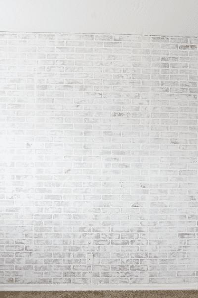 DIY white FAUX brick wall
