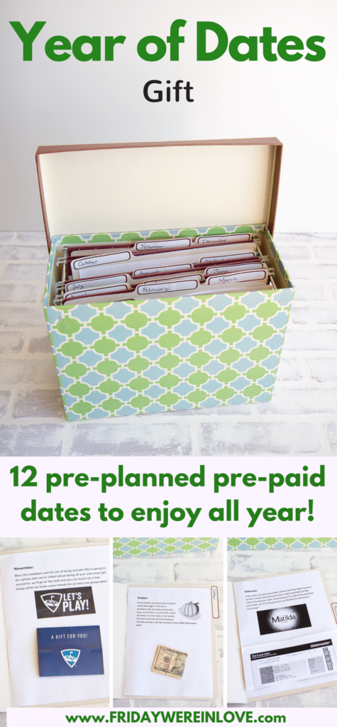 Year of Dates Gift- 12 pre-planned pre-paid dates to enjoy all year