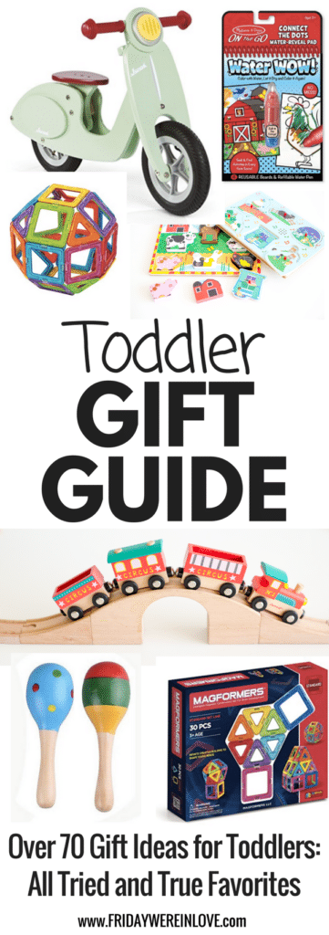 The ultimate toddler gift guide: over 70 gift ideas for toddlers that are all tried and true toddler favorites. Perfect toddler birthday gifts, or holiday gift ideas for toddlers. Your one-year-old gift ideas and two-year-old gift ideas are covered!