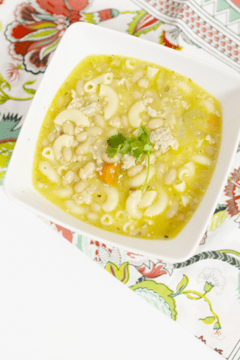 Easy Crock Pot Chicken Sausage, Bean, and Pasta Soup