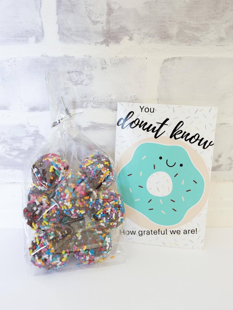 Easy thank you gift- donut thank you free printable