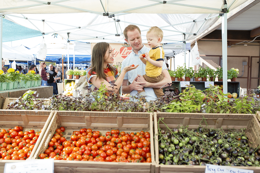 Farmer's Market family date idea: spend time picking out fresh fruits and veggies at the local farmer's market for your next meal