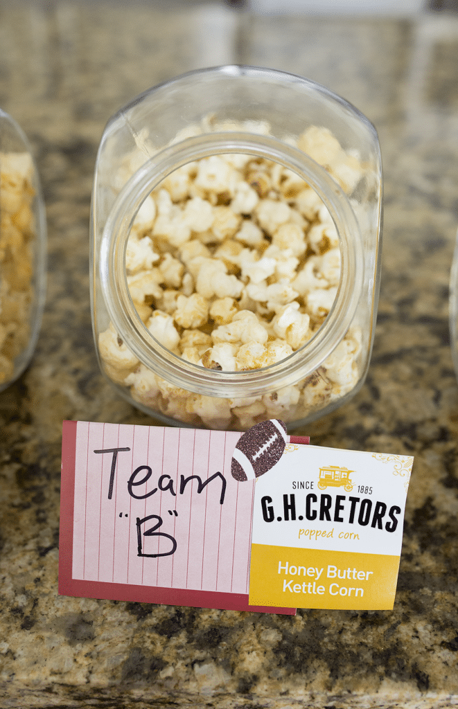 The perfect game day food for a party: this is so fun for a couple's party or family party, easy to pull together, and brings out the team rivalry!