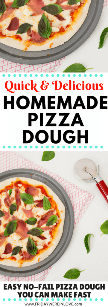 Quick Homemade pizza dough recipe and tips for freezing for another easy pizza night ahead!
