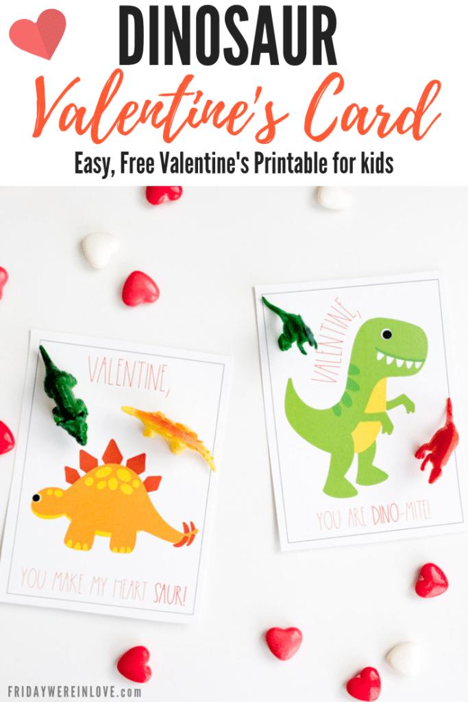 dinosaur valentines card: free valentines printable