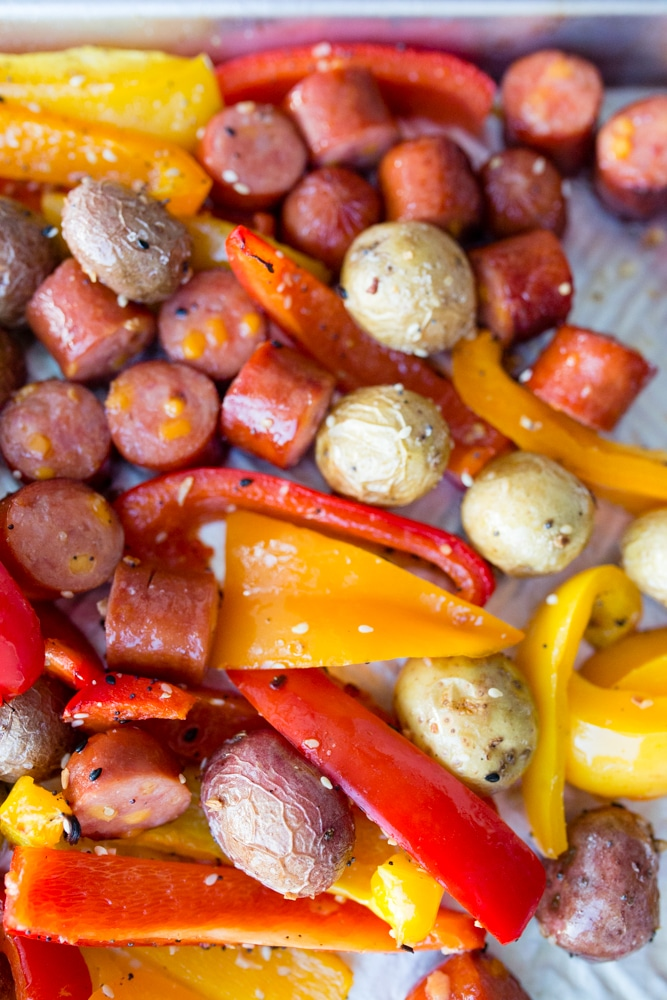 Sausage potato pepper sheet pan dinner