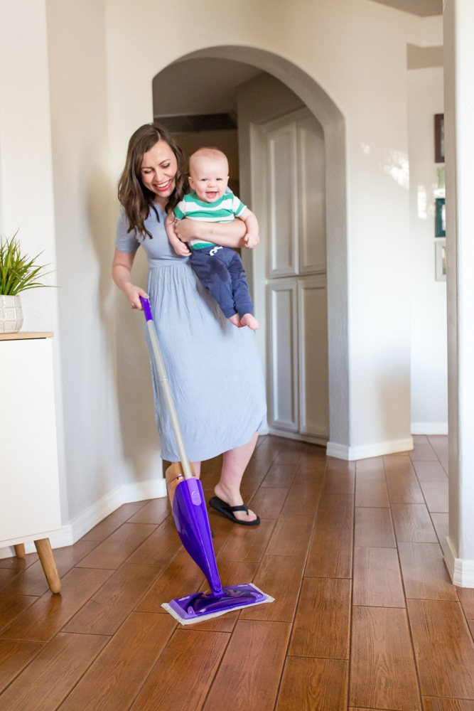 keep house clean with a mobile baby