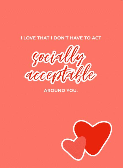 Socially Acceptable Funny Valentine's Card