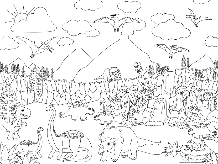 Large Dinosaur coloring Page