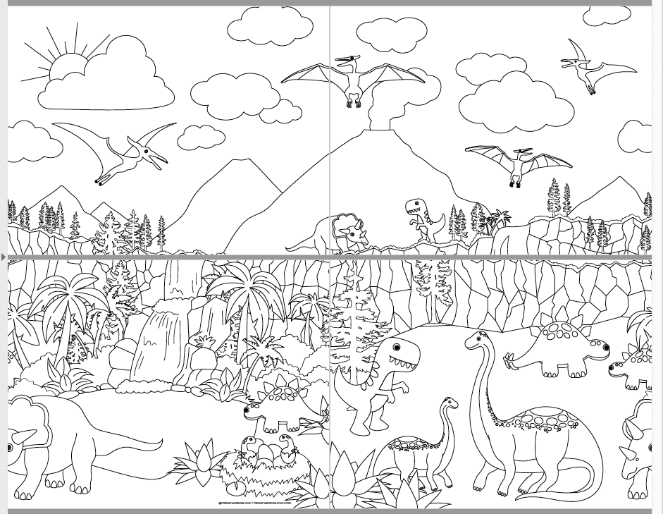 Print at Home Giant Coloring Pages dinosaurs