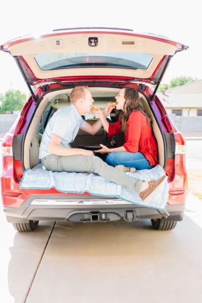 date night picnic in the car