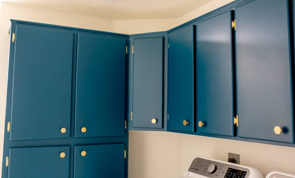 Blue green cabinets