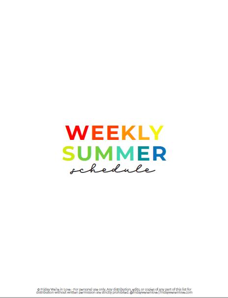 Weekly Summer Planner